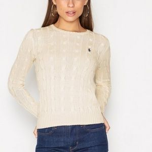 Ralph Lauren Ivory 100% cotton cableknit sweater L